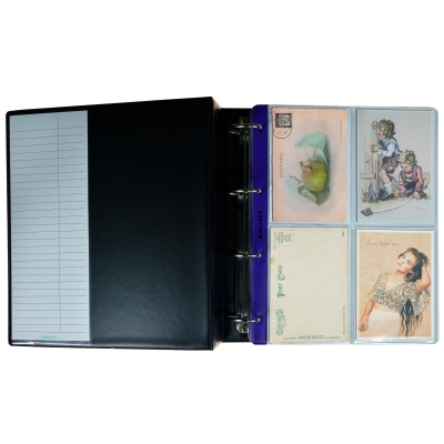 Collection Album with 40 Pockets for Postcards, Photographs, Badges