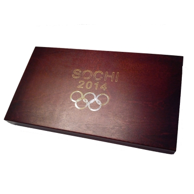 Wooden chest dedicated for Russian rubles SOCHI2014