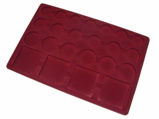 Coin tray with 23 compartments: 7 pcs Ø32mm; 6pcs Ø37mm; 6pcs Ø45mm; 4pcs 64mm x 64mm