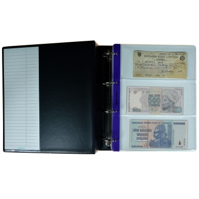 Collection Album, 28 Mix Banknotes, Cheques & Postcard sleeves