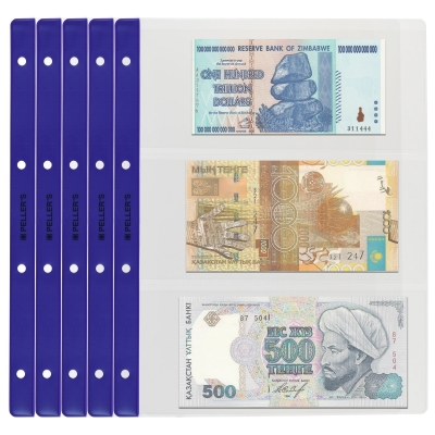 10 Collectors Banknote Sleeves, 3 Pockets 219mm X 100mm