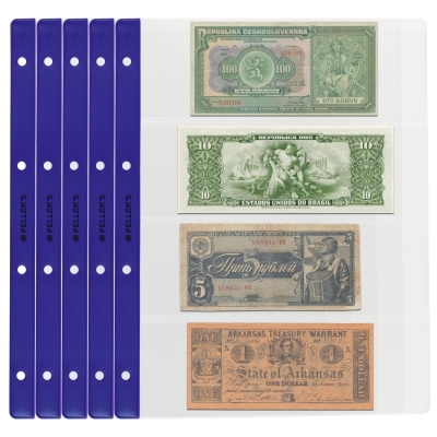 10 Collectors Banknote Sleeves, 4 Pockets 219mm X 75mm
