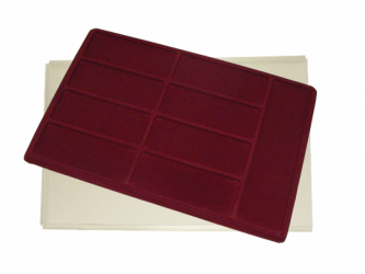 Tray with 9 compartments for medals:8pcs 122mm x 46mm. 1pcs 170mm x 54mm