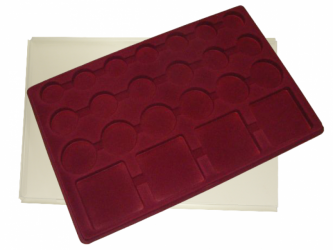 Coin tray with 23 compartments: 7 pcs Ø32mm; 6pcs Ø37mm; 6pcs Ø45mm; 4pcs 64mm x 64mm