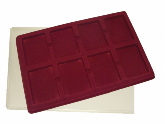 Coin tray with 8 compartments for coins in slabs: 65mm x 85mm