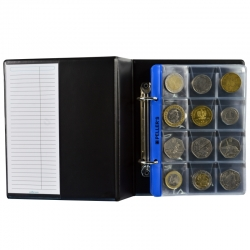 Coin album S with 10 sheets for 160 mix size coins up to Ø28mm